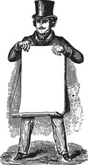Gentleman holding blank paper