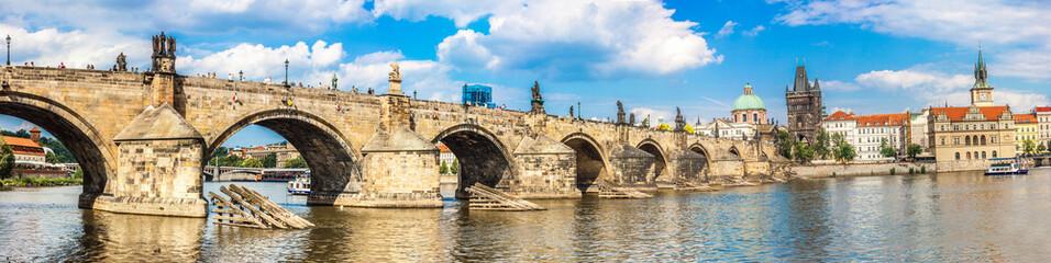 Karlov or charles bridge and river Vltava in Prague in summer