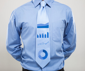 Business charts on a necktie