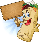 Burrito Cartoon Character Holding Sign