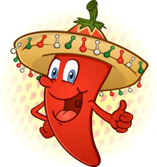 Hot Chili Pepper Wearing Sombrero Thumbs Up Cartoon Character