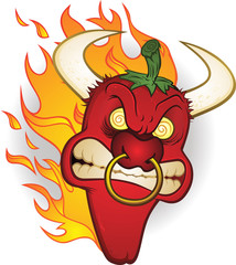 Raging Bull Chili Pepper Cartoon Character