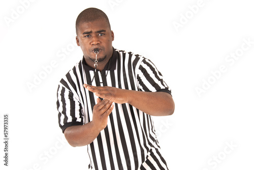 Black referee making a call of technical foul or time out - 57973335