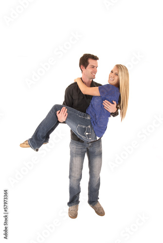 couple where man is carrying woman love