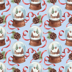 Watercolor pattern with illustration of snow globe