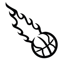 Flaming Basketball! Vector eps10 / clip art