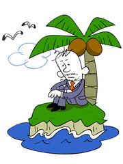 無人島にいるビジネスマン