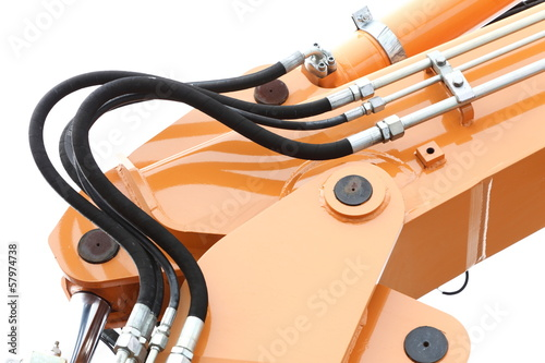 Detail of hydraulic bulldozer white background