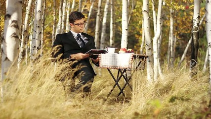 Business Outdoors Businessman Reading Having Breakfast in Nature