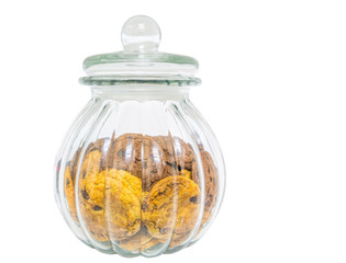 Cookie jar with cookies inside over white background