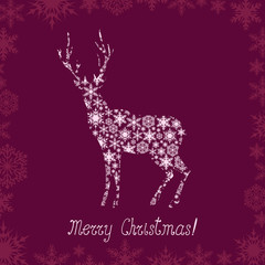 Christmas greeting with deer patterned silhouette