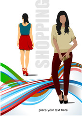 Two cute shopping ladys. Vector colored illustration