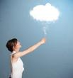 Beautiful lady holding cloud