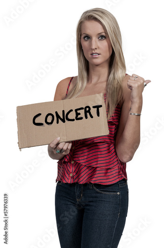 Woman Hitch Hiking to Concert