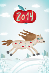Creative artwork with horse and 2014