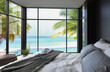 Tropical bedroom interior with double bed and seascape view