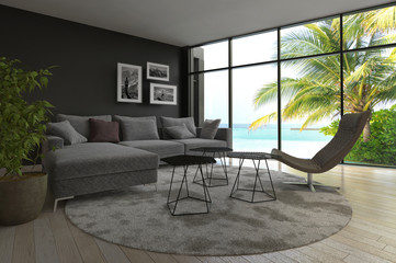 Modern living room interior with seascape view and palm tree