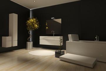 Modern dark black bathroom interior with ceramic bathtub