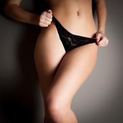 Attractive girl slim body (color toned image)