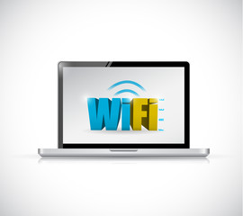 laptop free wifi connection illustration design