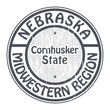 Nebraska, Midwestern Region stamp, vector