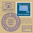 Stamp set with name of North Dakota, vector
