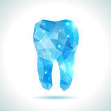 Polygonal blue vector tooth