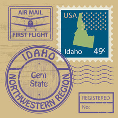 Stamp set with name of Idaho, vector
