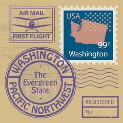 Stamp set with name of Washington, vector