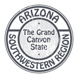 Stamp with name Arizona, Southwestern Region, vector poster