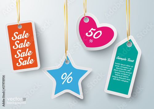 Colored Price Sticker Golden Ribbons