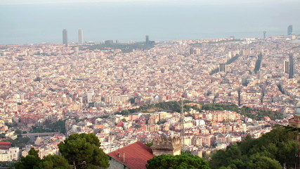 Pan shot of Barcelona cityscape
