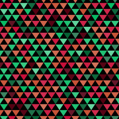 Colored and black triangles abstract seamless pattern, vector