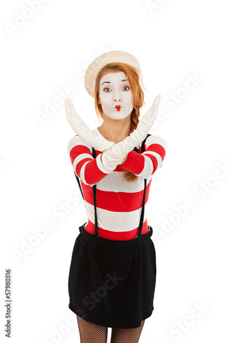 Portrait of a  mime comedian showing stop