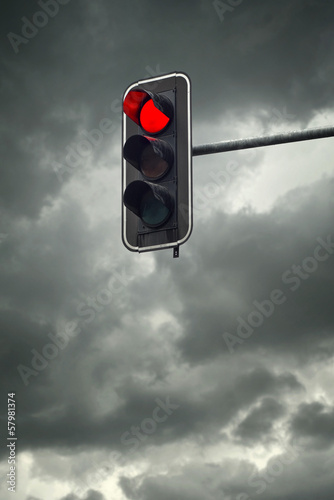 Stop light, the red traffic light