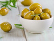 Green olives. Selective focus