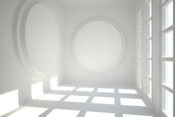 White room with circles at wall