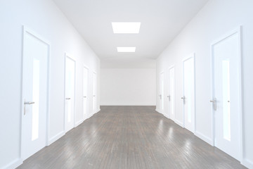 Bright hallway with several doors