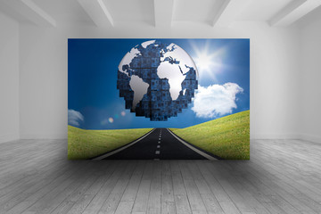 Room with futuristic picture of earth