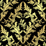 Golden floral Pattern on a black background