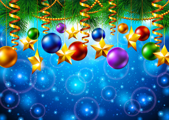 Christmas background with Christmas tree and toys