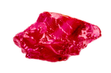 Bright pinkish red rough and uncut ruby crystal.