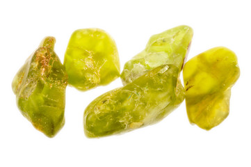 Bright green uncut and rough Peridot or Olivine