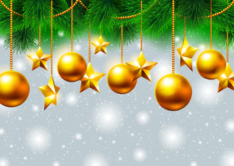 Christmas background with gold stars and toys