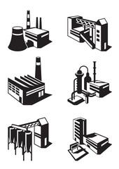 Types of industrial construction - vector illustration