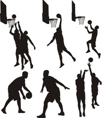 basketball players - silhouette