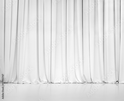 Tuinposter Stof white curtain or drapes background