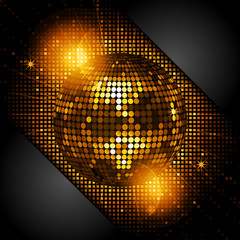 disco ball in glowing gold with black corners