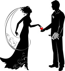 Silhouette of groom and bride
