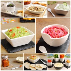 Collage of dips, sauces, spreads and pates